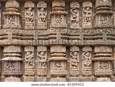 Magnificent musician sculptures, Sun temple Konark - stock photo