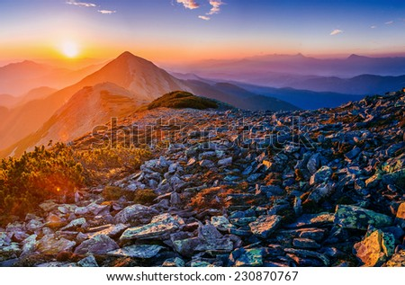 magnificent of sunrise  - stock photo