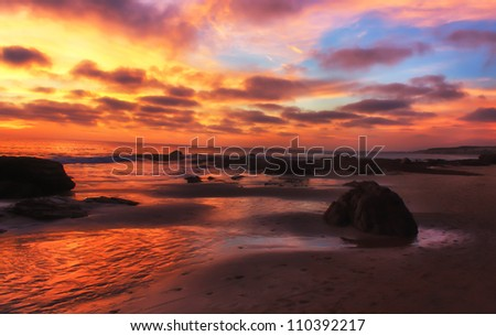 Magnificent Pacific Ocean Sunset at Crystal Cove Beach, California - stock photo