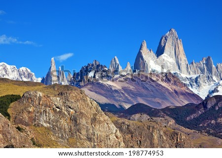 Magnificent panorama of snow-capped mountains in Patagonia. Famous rock Fitz Roy peaks in the Andes.  - stock photo