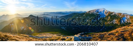 magnificent panorama of sunrise - stock photo