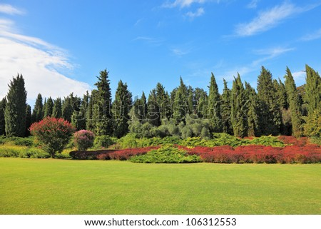 Magnificent park in northern Italy in wonderful summer day. The charming green grassy lawn is surrounded with coniferous trees and blossoming red bushes - stock photo