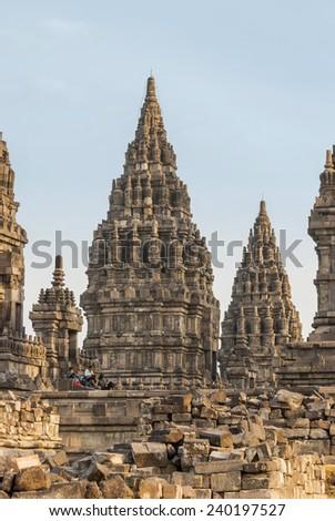Magnificent towers of Prambanan temple, Yogjakarta, Indonesia - stock photo