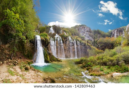 Magnificent view on the beautiful falls of Plitvice national park in Croatia, a UNESCO world heritage site. - stock photo