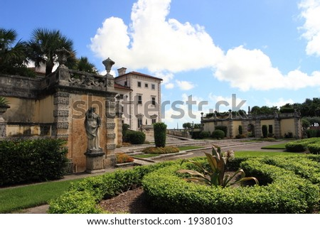 Magnificent Vizcaya Gardens estate and museum - stock photo