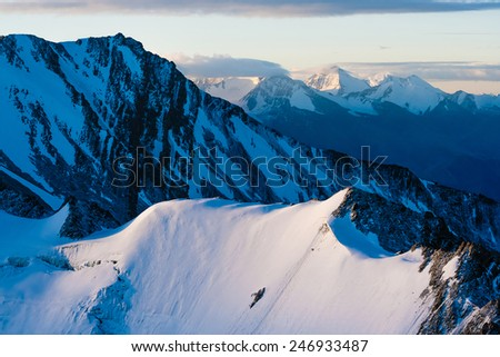 Magnificient Sunrise on Stok Kangri Mountain during ascend to the peak, Ladakh, Himalayas, India - stock photo