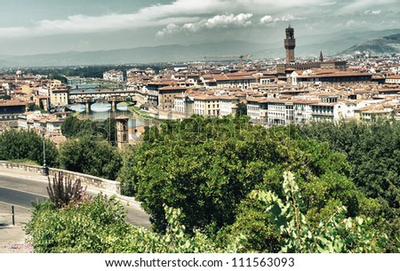 Magnificient View of Florence Architecture from Piazzale Michelangelo - Italy - stock photo