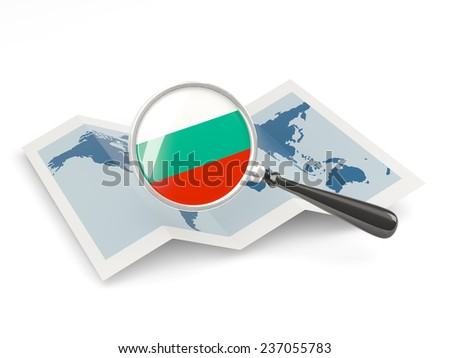 Magnified flag of bulgaria with map isolated on white - stock photo