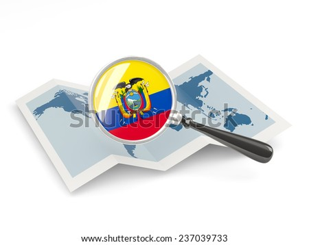 Magnified flag of ecuador with map isolated on white - stock photo