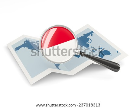 Magnified flag of indonesia with map isolated on white - stock photo