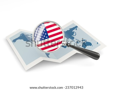 Magnified flag of united states of america with map isolated on white - stock photo
