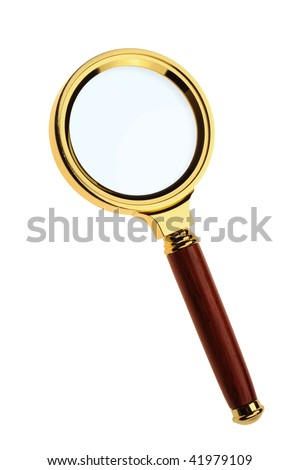 Magnifier. A gold frame, the wooden handle it is isolated on a white background. - stock photo