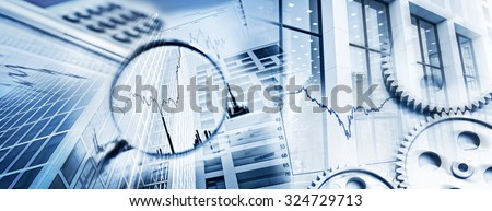 Magnifier, gears, charts, calculators and facades of office buildings as a symbol of business and financial markets. - stock photo