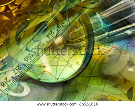 Magnifier, ruler and calculator, collage about reporting. - stock photo