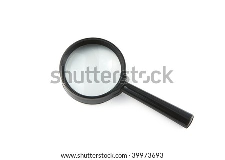 magnifier white isolated - stock photo