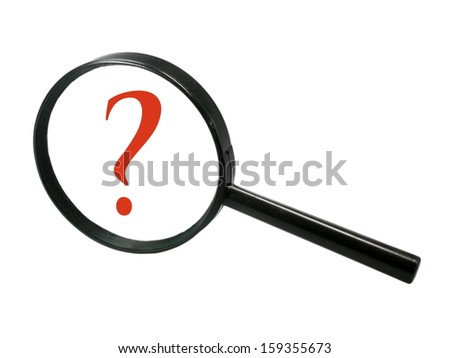 Magnifier with question mark - stock photo