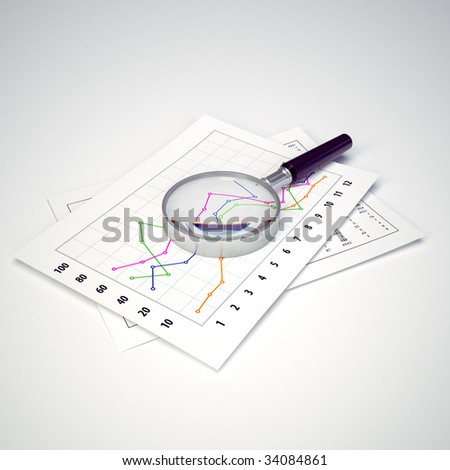 Magnifying Glass and Charts. Ready to use illustration. Business and finance. - stock photo
