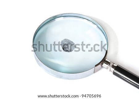 Magnifying glass and fingerprint isolated on white - stock photo