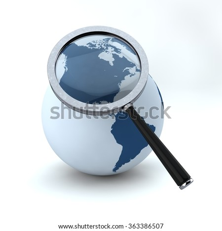 magnifying glass and globe - stock photo