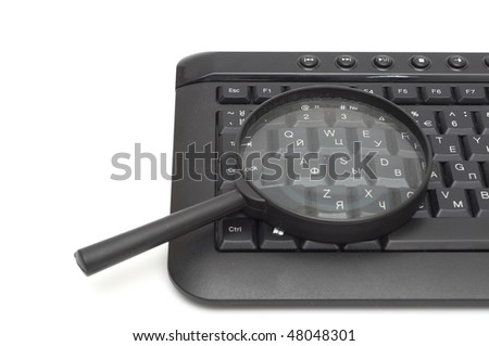 Magnifying glass, button, key isolated on white - stock photo