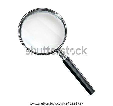 magnifying glass classic style  isolated on white background - stock photo