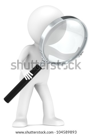 Magnifying Glass. 3D little human character with a Magnifying Glass. Low Refraction effect. People series - stock photo