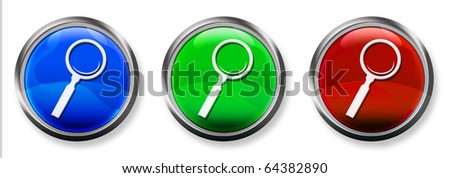 Magnifying Glass 3-D RGB Buttons - stock photo