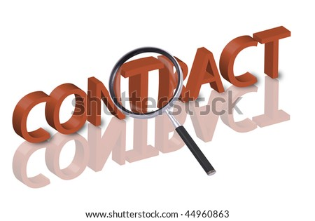 magnifying glass enlarging part of 3D word contract in red with reflections - stock photo
