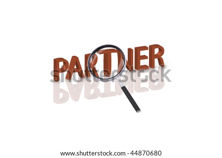 magnifying glass enlarging part of 3D word partner in red with reflections - stock photo