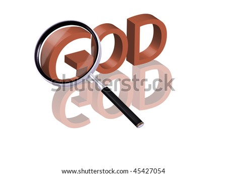 Magnifying glass enlarging part of red 3D word with reflection god icon god button religion faith trust belief lord almighty - stock photo