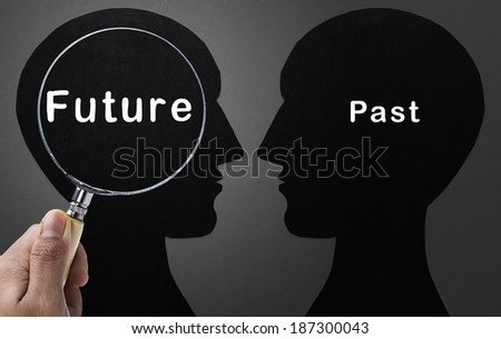 Magnifying glass focus on Future - stock photo