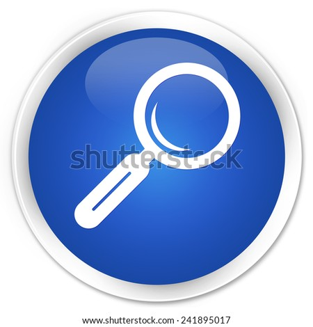 Magnifying glass icon blue glossy round button - stock photo