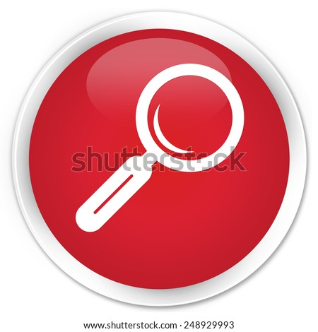 Magnifying glass icon red glossy round button - stock photo