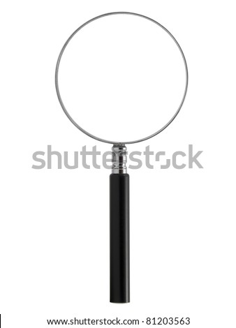 Magnifying glass in upright position isolated on white with glass path - stock photo
