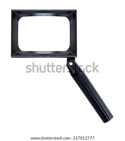 Magnifying glass, isolated and rectangular on white background - Lente di ingrandimento - stock photo