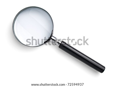 Magnifying glass isolated on white with soft shadow - stock photo