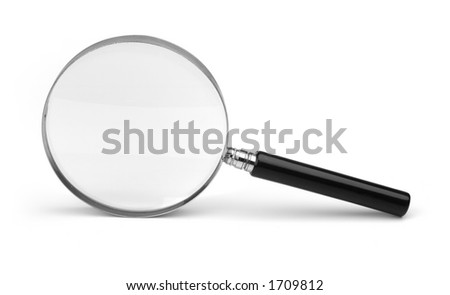 magnifying glass on white - stock photo