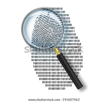Magnifying glass over finger printlike shape made of binary code - stock photo