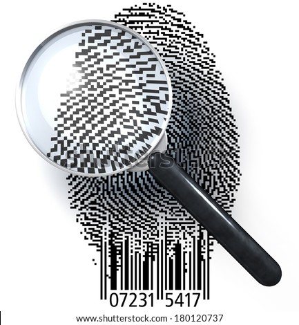 Magnifying glass over fingerprint presented as a QR code, EAN code, 3d rendering isolated on white background - stock photo