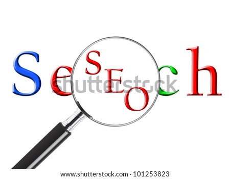 Magnifying glass over the word Search revealing SEO or Search Engine Optimization - stock photo