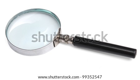 Magnifying glass over white - stock photo