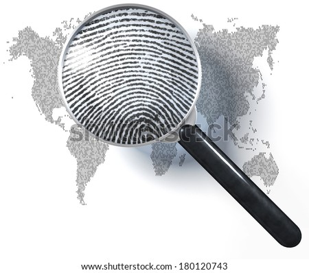 Magnifying glass over world map made of 1/0 grid showing realistic, natural fingerprint, 3d rendering isolated on white background - stock photo