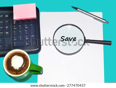 """Magnifying glass searching """"SAVE"""", Internet concept  - stock photo"""