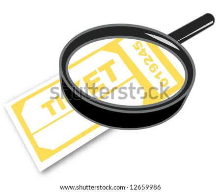 magnifying glass with admission or prize tickets - stock photo