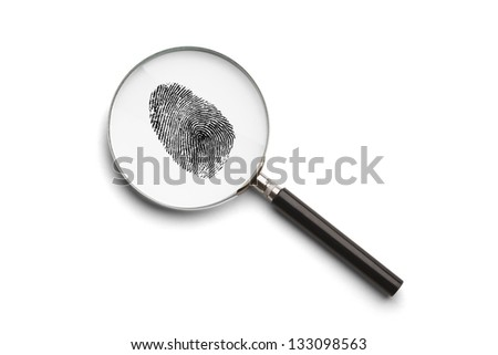 Magnifying Glass with Finger Print Isolated on White Background. - stock photo