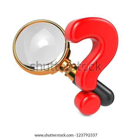 Magnifying Glass with Gold Border and Question Mark. Isolated on White. - stock photo