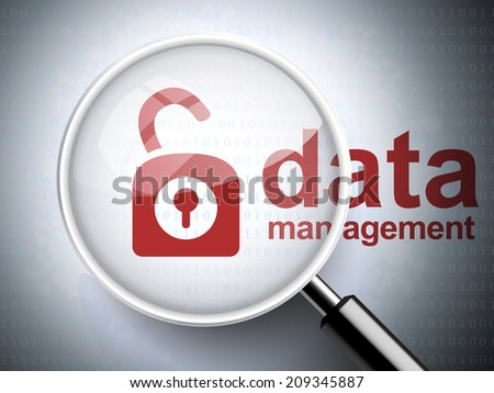 magnifying glass with opened padlock icon and data management words on digital background - stock photo