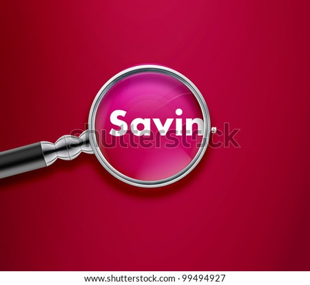 Magnifying glass with Saving word on Pink background. - stock photo