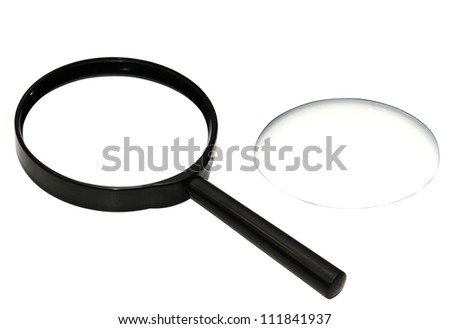 Magnifying glass with the lens separate isolated with three clipping paths - stock photo