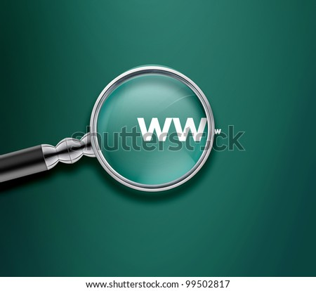 Magnifying glass with www word on Green background. - stock photo